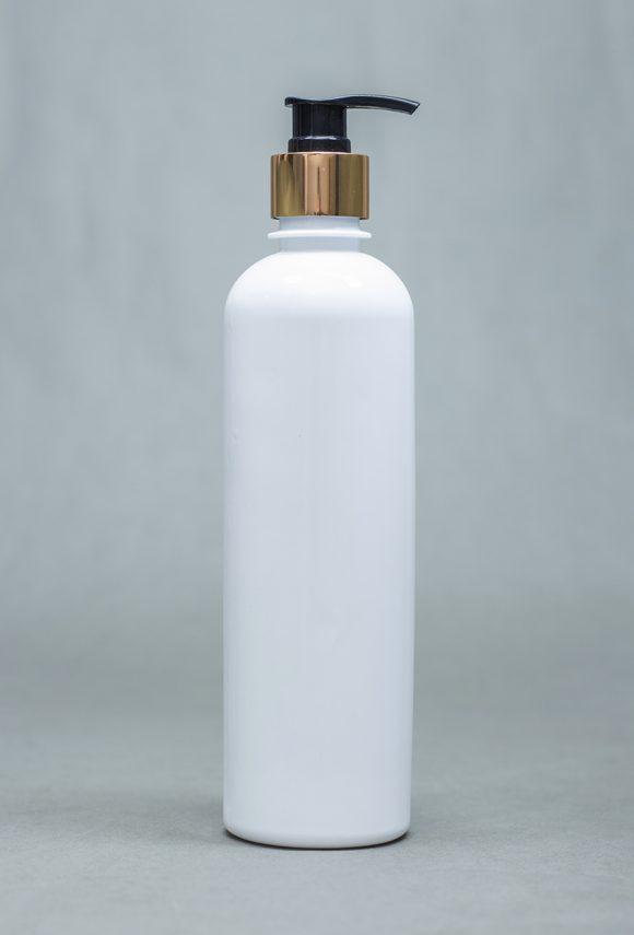 250ml Opaque Plastic Bottle With Metallic Pump Cap