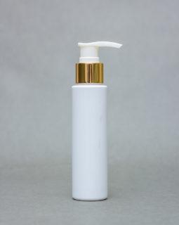 Features of 100ml Opaque Plastic Bottle EDGY with metallic pump cap
