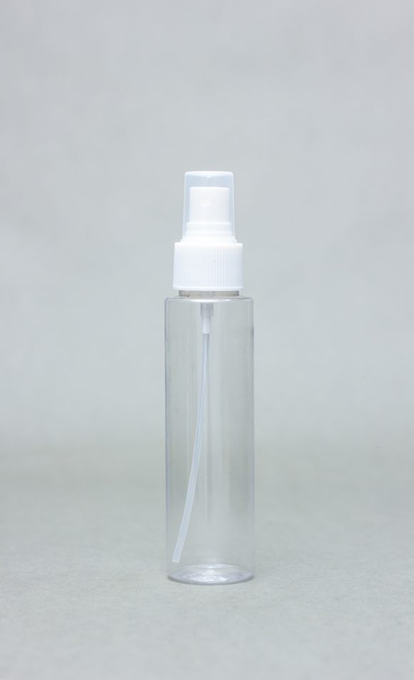 100ml Transparent Plastic Bottle EDGY With Spray Cap